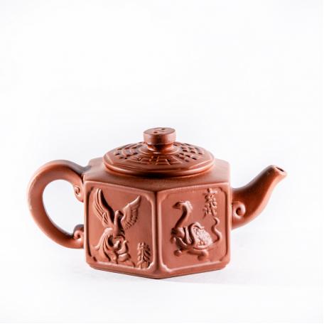 Глиняный чайник 6ти угольник 300мл