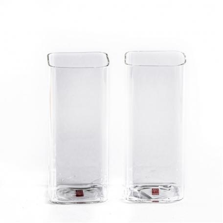 Стеклянный квадратный стакан, высокий. В наборе 2 шт