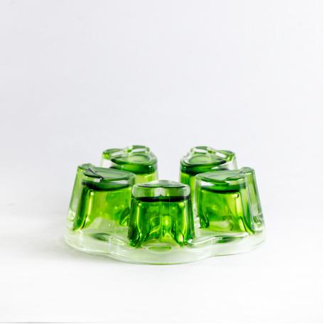 Стеклянная подставка, зеленая
