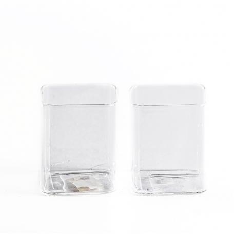 Стеклянный квадратный стакан, низкий. В наборе 2 шт