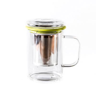 Стеклянный стакан с ситом, силиконовый ободок, 400 мл