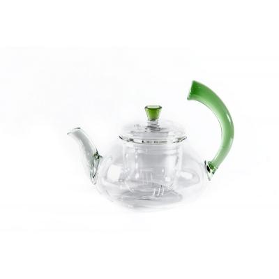 Стеклянный чайник с зеленой ручкой 550 мл