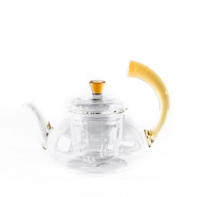 Стеклянный чайник с коричневой ручкой 550 мл