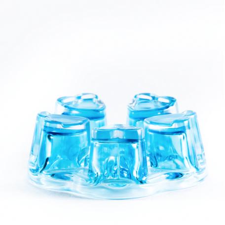 Стеклянная подставка, голубая