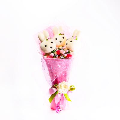 Подарок Букет с игрушкой №27 Розовый