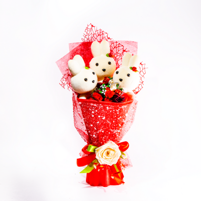 Подарок Букет с игрушкой №29 Красный