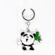 Металлический брелок панда с стеблем бамбука