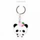 Металлический брелок панда с розовым яблочком