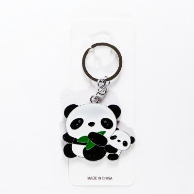 Металлический брелок панда с детенышем