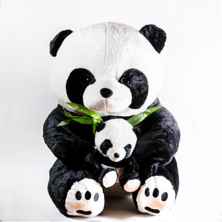 Панда 53 см, с бамбуковой веточкой и малышом