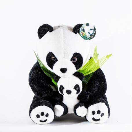 Панда 25 см, с детенышем